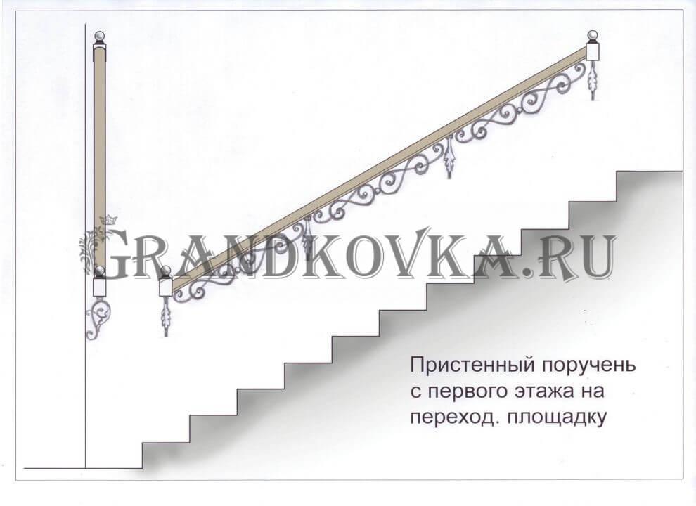 Эскиз кованых перил для лестницы 4