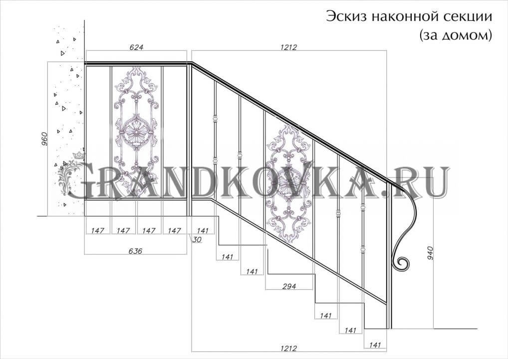 Эскиз кованых перил для лестницы 5