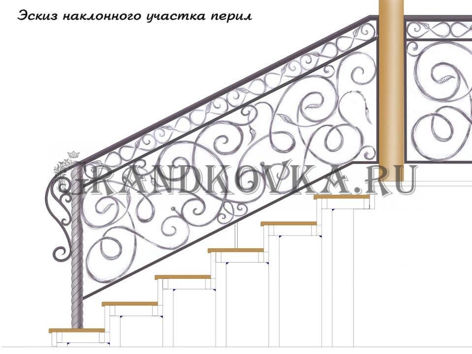 Эскиз кованых перил для лестницы 6