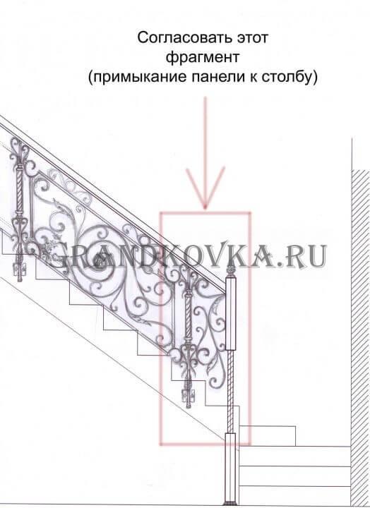 Эскиз кованых перил для лестницы 8