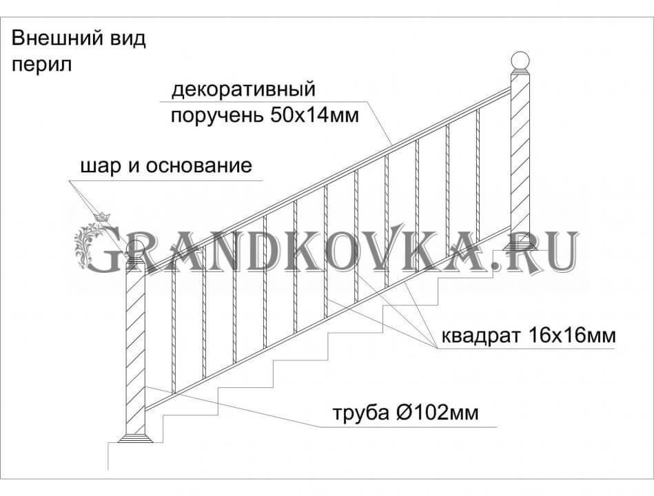 Эскиз кованых перил для лестницы 9