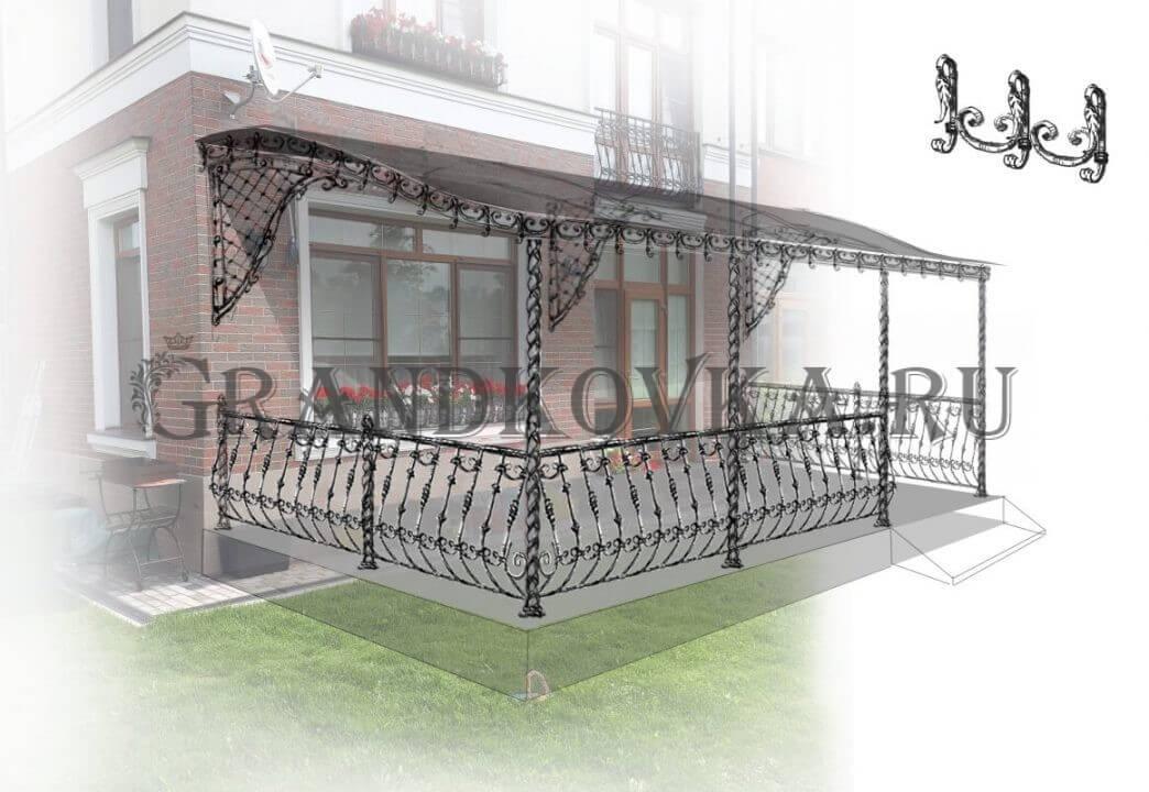 Эскиз кованых перил для террасы и веранды 4