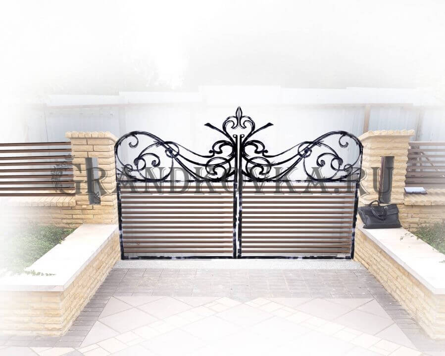 Эскиз распашных кованых ворот 5