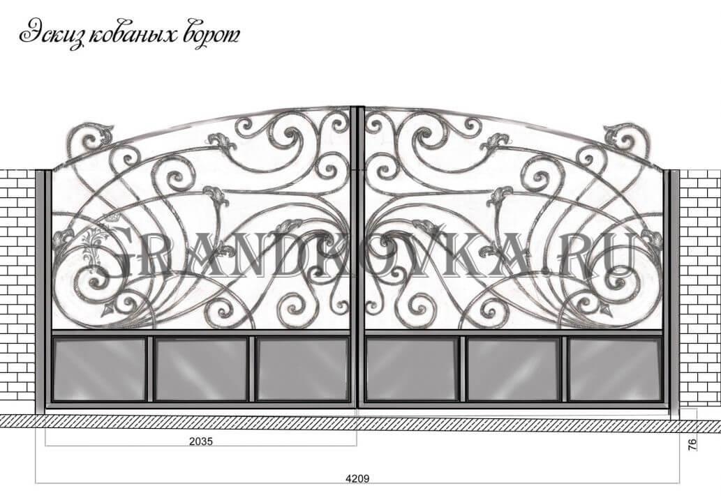 Эскиз распашных кованых ворот 9