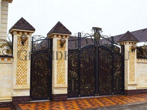 Фото кованых распашных ворот 119