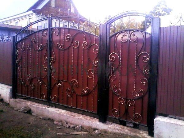 Фото кованых распашных ворот 123