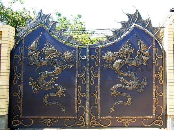 Фото кованых распашных ворот 146