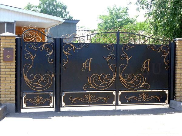 Фото кованых распашных ворот 202