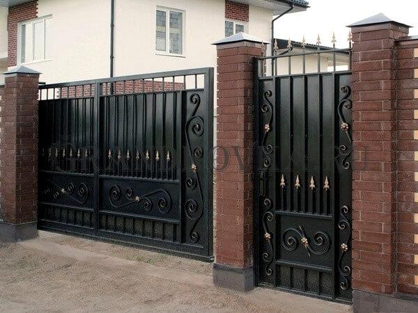 Фото кованых откатных ворот 209