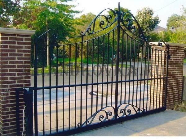 Фото кованых откатных ворот 213