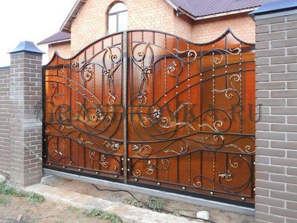 Фото кованых откатных ворот 214