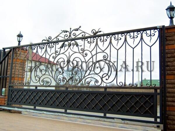 Фото кованых откатных ворот 221