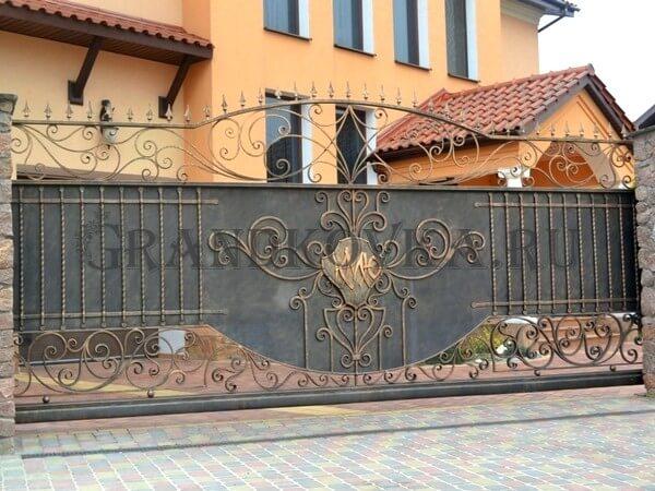 Фото кованых откатных ворот 222