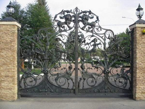 Фото кованых распашных ворот 23