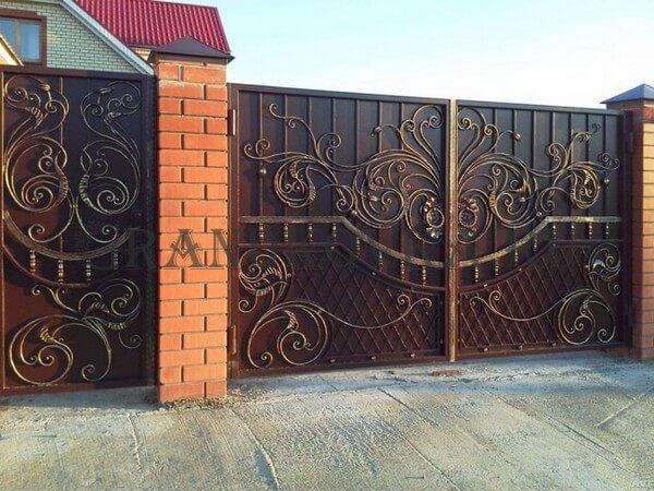 Фото кованых распашных ворот 36