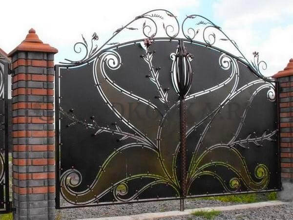 Фото кованых распашных ворот 56
