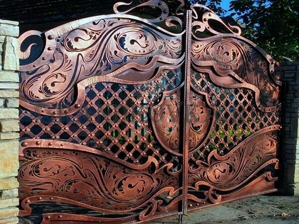 Фото кованых распашных ворот 64