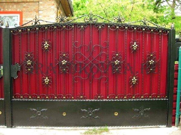 Фото кованых распашных ворот 92
