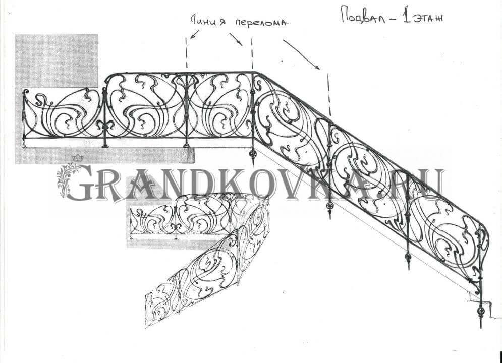 Эскиз кованого лестничного ограждения 12