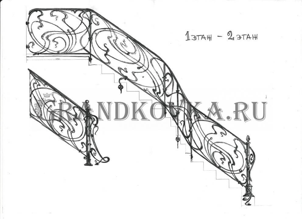 Эскиз кованого лестничного ограждения 13