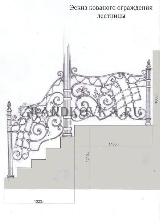 Эскиз кованого ограждения на крыльца с лестницей 17