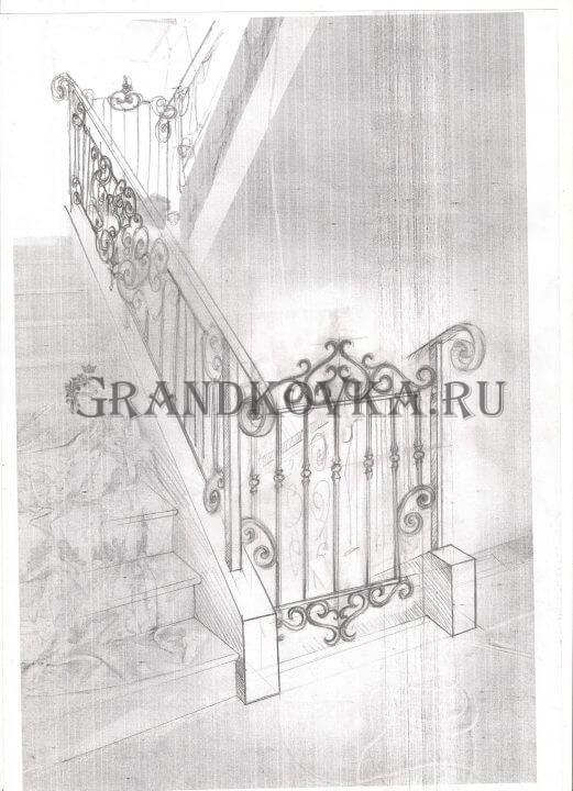 Эскиз лестничного ограждения из ковки 14
