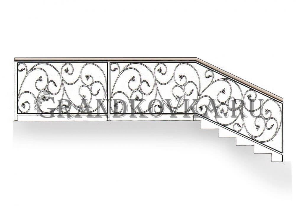Эскиз лестничного ограждения из ковки 22