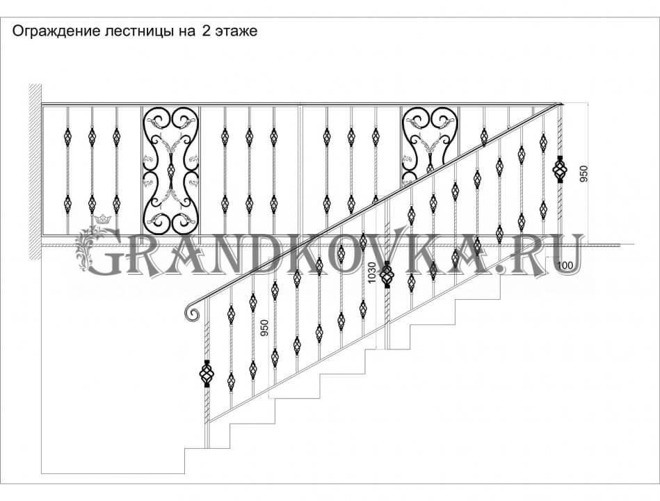 Эскиз ограждения лестницы 6