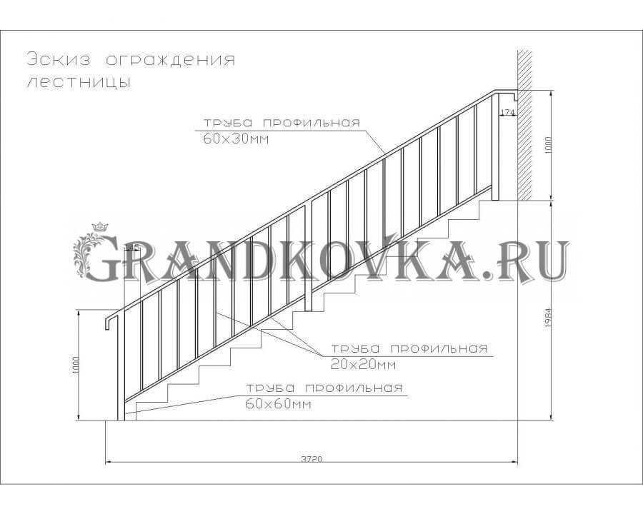 Эскиз сварного лестничного ограждения 14