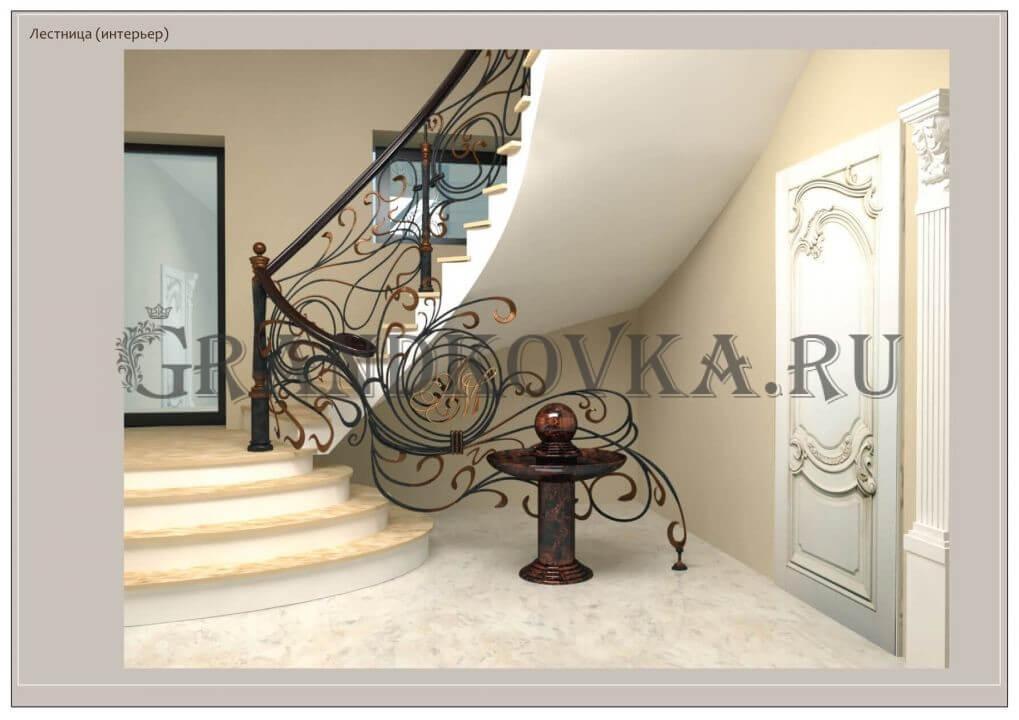 3Д модель лестницы на второй этаж дома ЭКЛВ-2