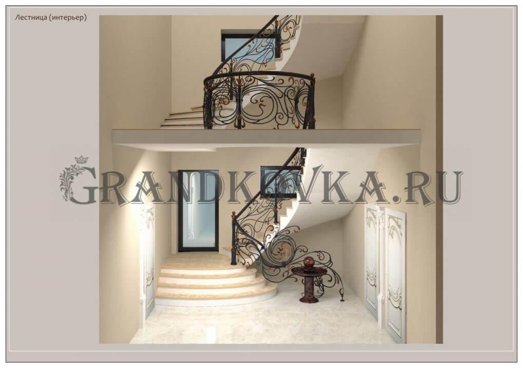 3Д модель лестницы на второй этаж дома ЭКЛВ-3