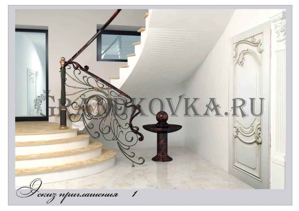 3Д модель лестницы на второй этаж дома ЭКЛВ-5