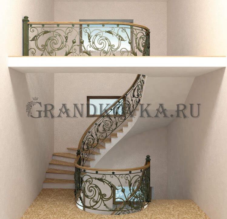 3Д модель лестницы на второй этаж дома ЭКЛВ-7
