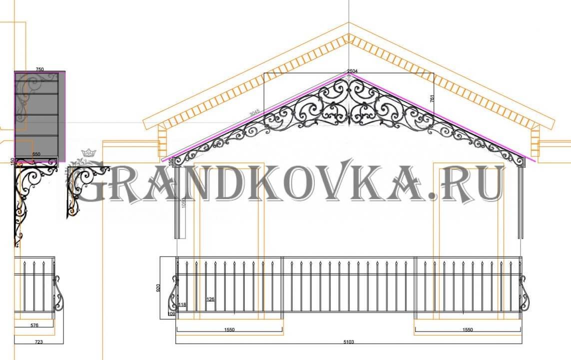 Чертеж козырька над балконом ЭКБ-3
