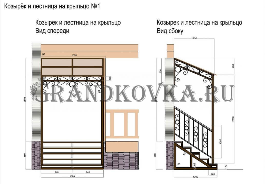 Чертеж лестницы для крыльца ЭЛК-3