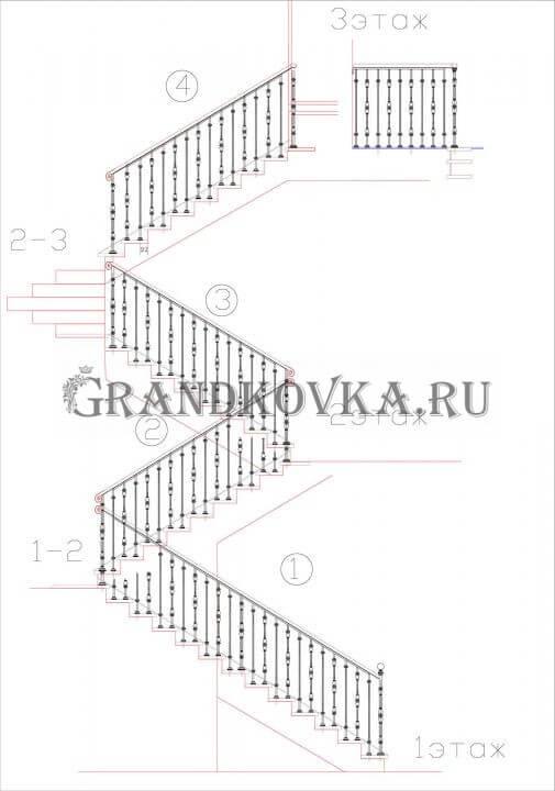 Чертеж лестницы на второй этаж дома ЭКЛВ-10