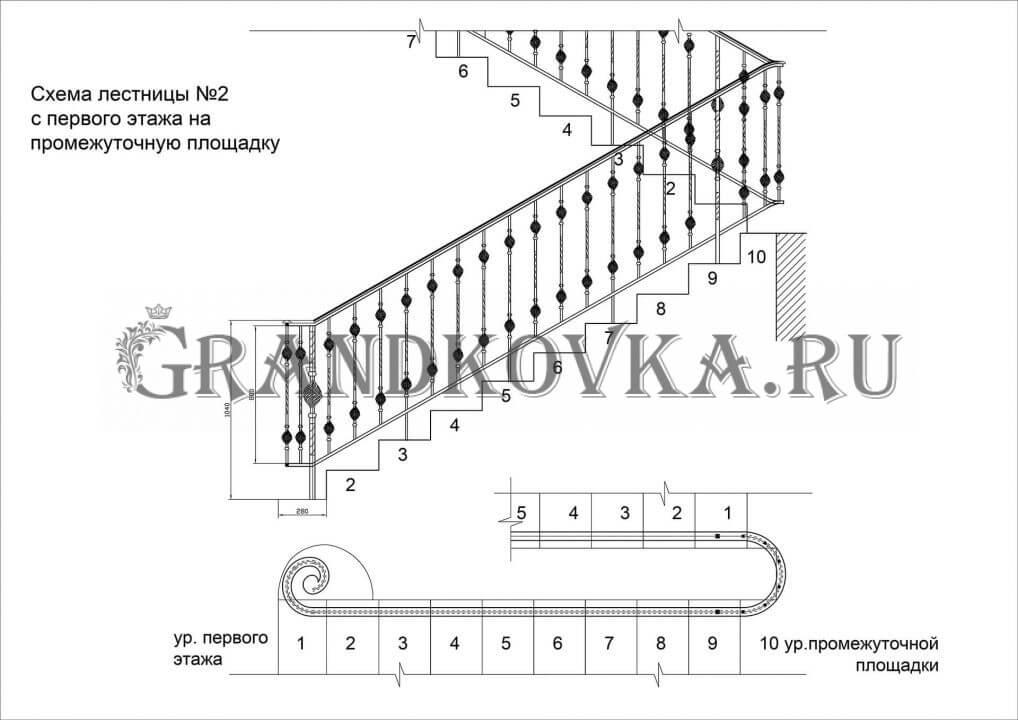 Чертеж лестницы на второй этаж дома ЭКЛВ-11