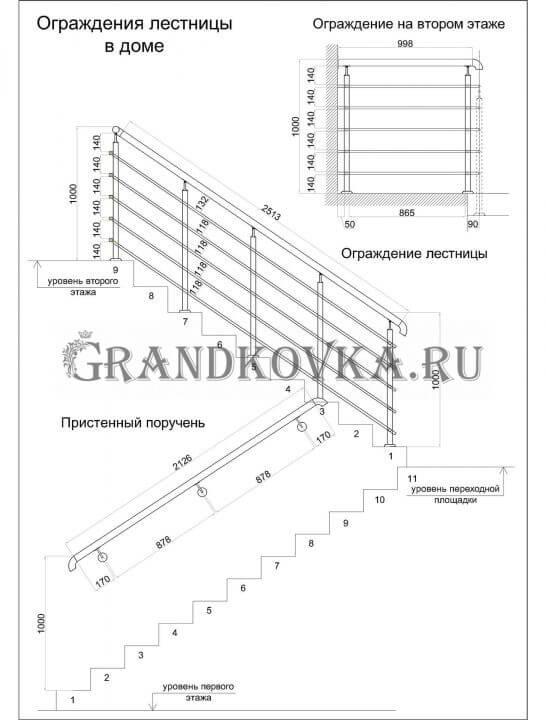 Чертеж лестницы на второй этаж дома ЭКЛВ-12