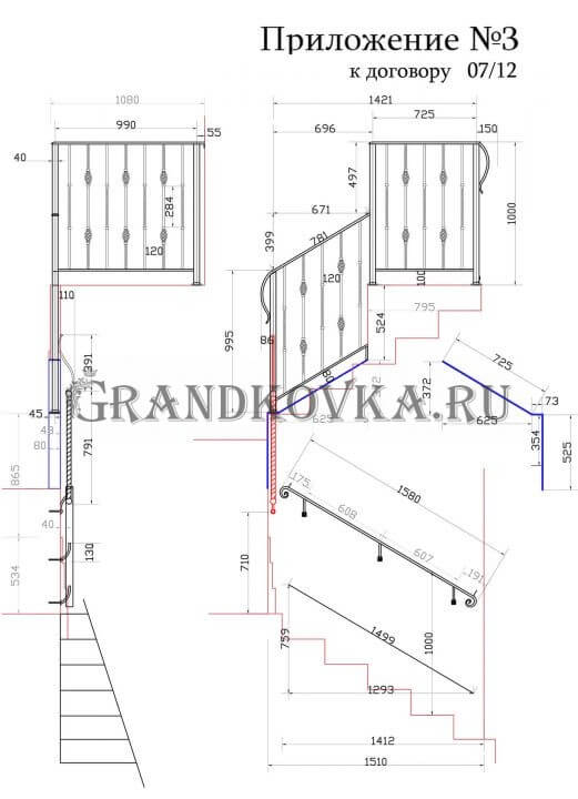 Чертеж лестницы на второй этаж дома ЭКЛВ-17