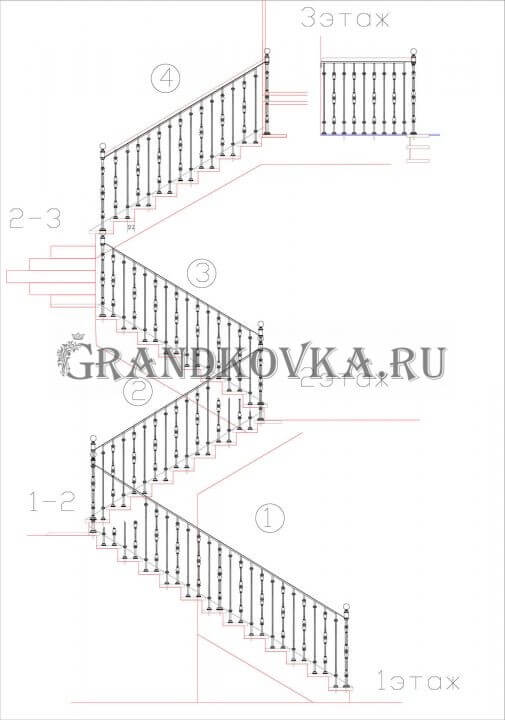 Чертеж лестницы с площадкой ЭЛП-2