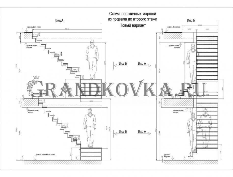 Чертеж лестницы с площадкой ЭЛП-5