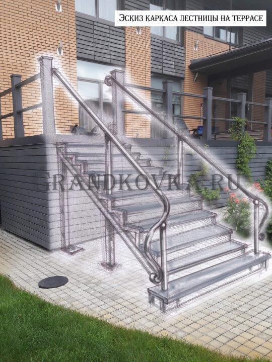 Эскиз лестницы для крыльца веранды ЭЛК-11