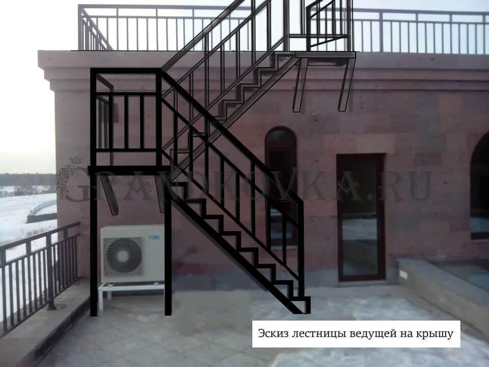 Эскиз лестницы на металлокаркасе ЭЛМК-10