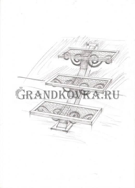 Эскиз лестницы на металлокаркасе ЭЛМК-8