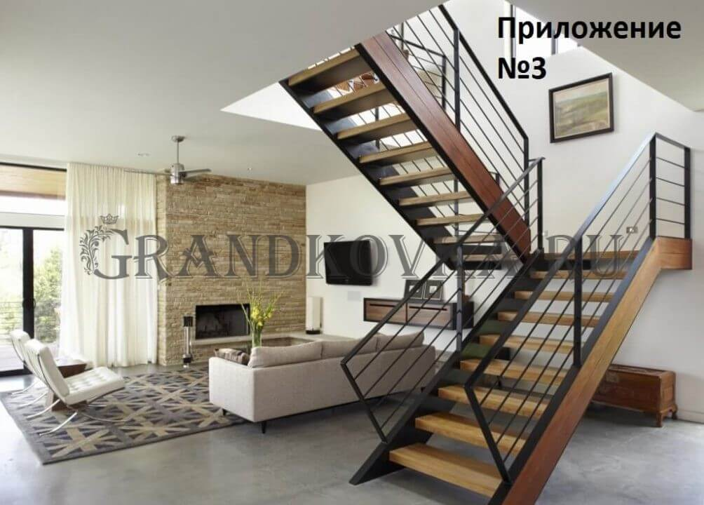 Эскиз лестницы на второй этаж дома ЭКЛВ-1
