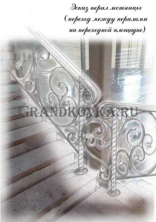 Эскиз лестницы на второй этаж дома ЭКЛВ-19