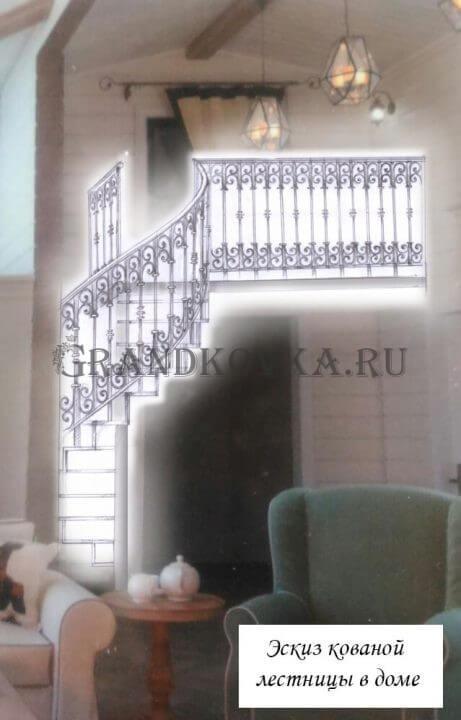 Эскиз лестницы на второй этаж дома ЭКЛВ-21