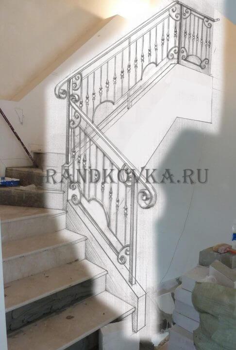 Эскиз лестницы с площадкой ЭЛП-4