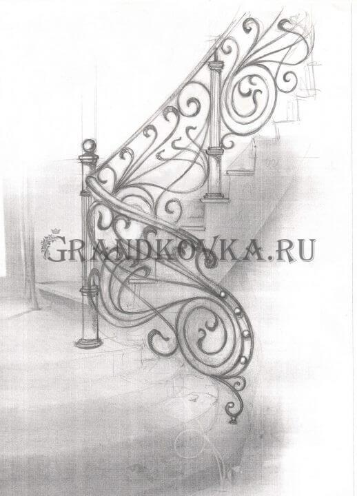 Эскиз лестницы с площадкой ЭЛП-8