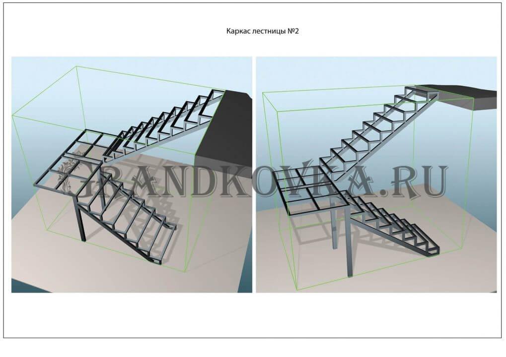 Модель лестницы на металлокаркасе ЭЛМК-2